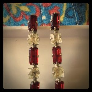 Vintage 2 inch drop earrings red and white